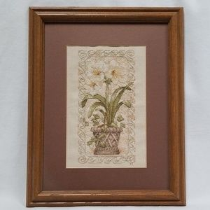 Lilies In A Pot Completed Framed Cross Stitch